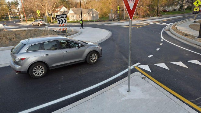 The roundabout at the intersection of West Lake and Millfair roads opened in 2018 and is not included in the latest safety study.