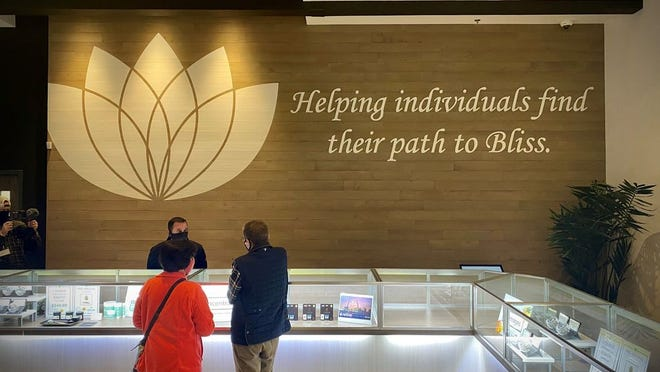 A Missouri Medical Cannabis Trade Association spokesperson said on Twitter Saturday, Oct. 17, 2020 that these two patients were the first ever in Missouri to legally buy medical marijuana at an N'Bliss Cannabis dispensary in suburban St. Louis.