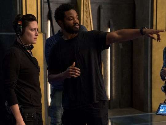 "Director Ryan Coogler, right on the ""Black Panther"""