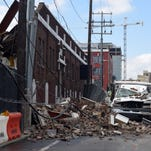 A wall collapsed on 8th Avenue and Demonbreun Street in downtown Nashville, Thursday Feb. 4.