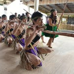 Famagu'on Tano' Yan I Tasi cultural dancers perform during the Dinana' Minagof Chamorro Dance Festival at the Gef Pago Cultural Village in Inarajan on Feb. 15, 2015. This dancer acted as a Japanese soldier during the performance.