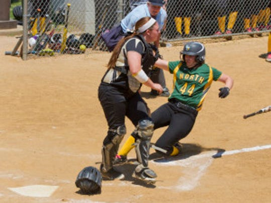 Hillsborough catcher Alyssa VanDerveer awaits the throw as Taylor Knoble slides home during the fourth inning Saturday in the Group IV final (PHOTO BY PETER ACKERMAN/STAFF PHOTOGRAPHER)