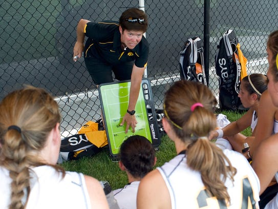 Iowa women's field hockey coach Tracey Griesbaum works
