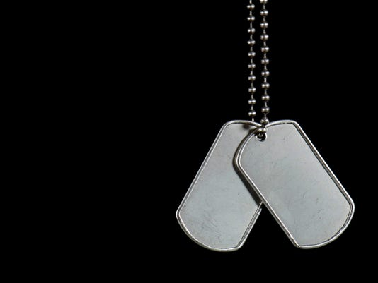 Hanging military dog tags