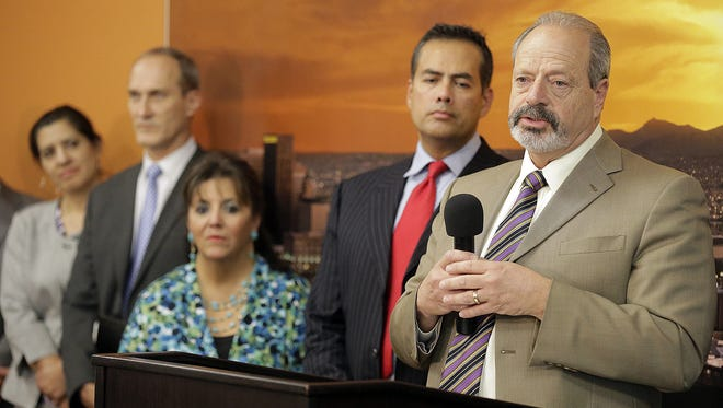 El Paso Mayor Oscar Leeser, along with City Manager Tommy Gonzalez and city department leaders, announces at a news conference that the city of El Paso's 2012 quality of life bond program will begin to formally seek a firm to manage the construction and programming of the new $180 million Multi-Purpose Cultural and Performing Arts Center project.