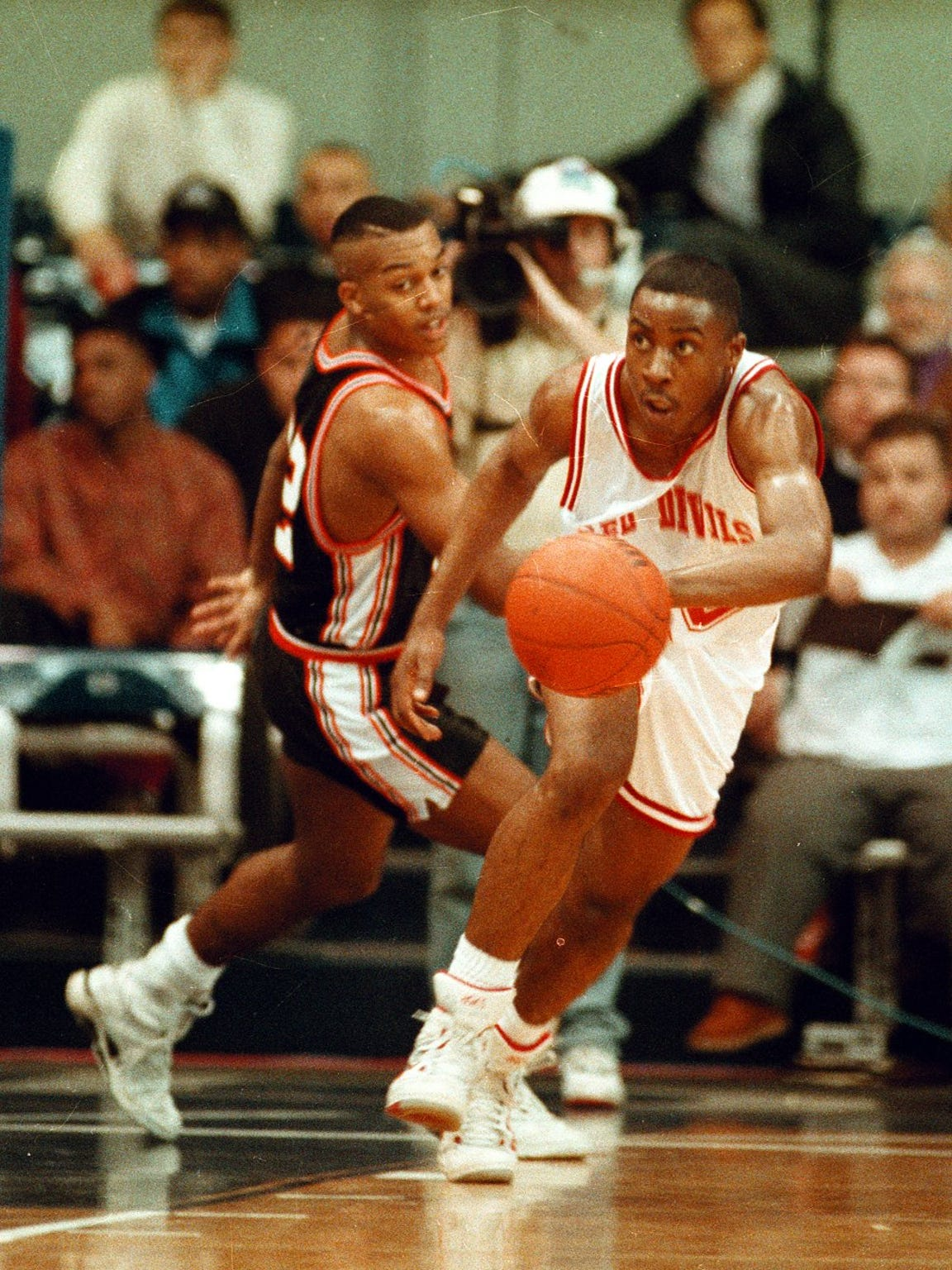 Chad Austin pictured during a 1992 semi-state game at Hinkle Fieldhouse.