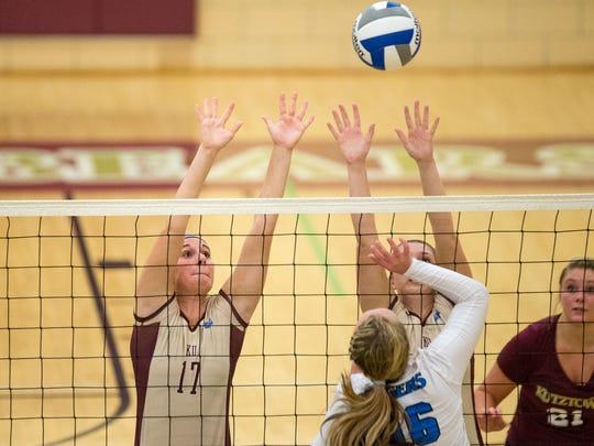York Catholic graduate Zandria Zielinski (17) leads the Kutztown volleyball team in blocks this season.