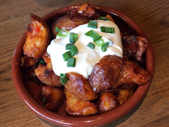 Sweet Chili-Glazed Cracked Potatoes with scallions