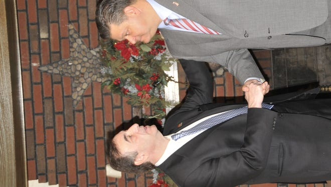 John McCann shakes hands with Carlos Rendo, mayor of Woodcliff Lake, after Rendo announced his endorsement of the 5th Congressional District GOP candidate.