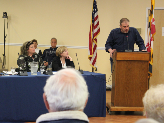 Matt Ortt speaks in Ocean Pines about the future of the Beach Club and Yacht Club on April 19, 2018.