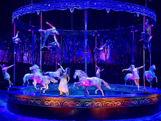 "The dreamlike ""Carosello"" features a life-size carousel,"