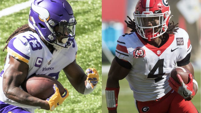 Minnesota Vikings running back Dalvin Cook and Georgia running back James Cook. (USA Today photos).