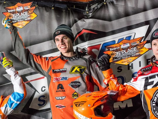 Jake Angove celebrates a win in Duluth, Minnesota, last season competing in the Pro Lite Series.