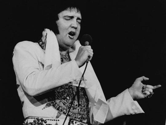 Who will be crowned the best Elvis in Pitman? The real Elvis is shown here performing in Rhode Island shortly before he died.