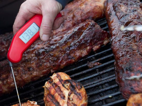 Use a food thermometer to check pork, chicken and beef to determine if it has cooked to a safe, done temperature.