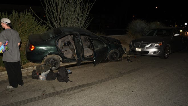 A passenger was injured after a DUI suspect struck several parked vehicles early Monday in Palm Desert, officials said.