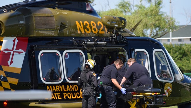 Maryland State Police Aviation Unit Trooper 4 responded to the Northside Park on 125th Street and transported the patient to Shock Trauma in Baltimore