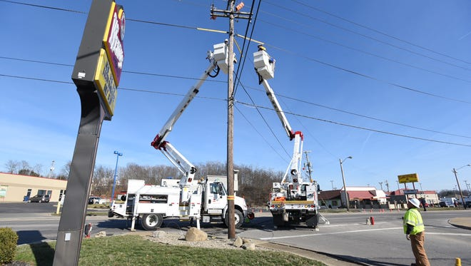 AEP crews are working to restore power on Maple Avenue.
