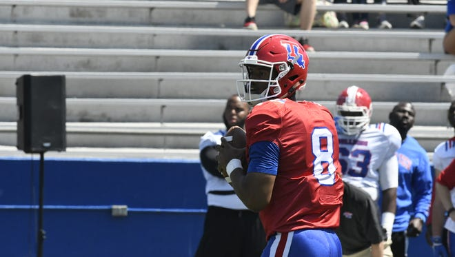 Louisiana Tech quarterback J'Mar Smith threw for almost 350 yards in Saturday's spring game at Joe Aillet Stadium.