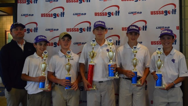 The St. Mark's Cathedral middle school golf team won first place recently at the state championships. Pictured are coach Scott Soignier, Bennett Wicker, August Drummond, Nicholas Pavlick, Jacob Accurio and Holden Webb.