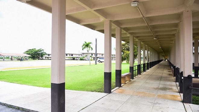 The walkways at Tiyan High School were empty Monday afternoon after school was canceled due to a water outage at the campus. As of Monday afternoon it was unclear whether water would be restored in time for Tuesday classes.