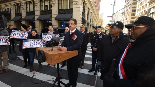 Gov. Andrew Cuomo spoke in Manhattan on Nov. 4, 2017, before the Veteran's Day parade to announce PTSD will be a condition eligible for medical marijuana in New York.