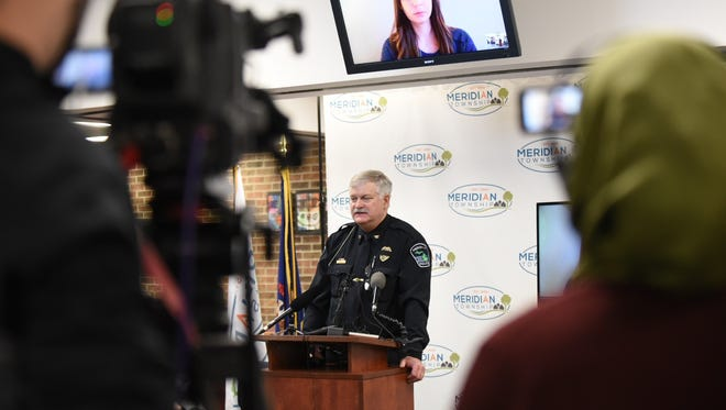 Meridian Township Police Chief Dave Hall speaks during a press conference Thursday to apologize to Brianne Randall-Gay, whose 2004 sexual assault complaint against Larry Nassar was not forwarded to prosecutors by township police.