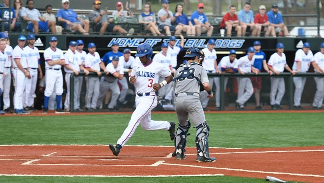 Mason Robinson launched a three-run blast in game one for his first-career home run.
