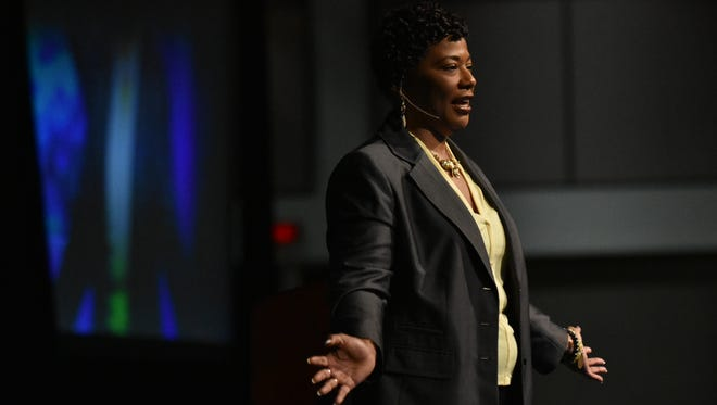 Dr. Bernice King addressed local educators at the Palm Springs Convention Center on April 17.