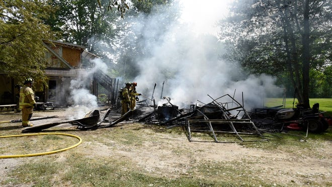 A garage in Kimball Township was destroyed in a fire Friday afternoon.