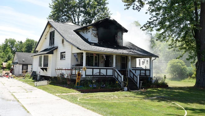 A home in the 4900 block of Lapeer Road caught fire Tuesday afternoon.