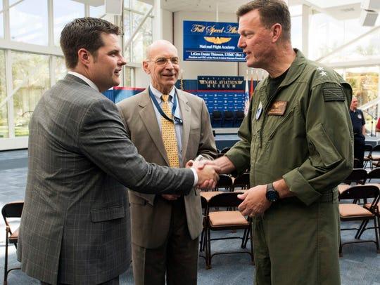 Congressman Matt Gaetz, left, meets Rear Adm. Kyle