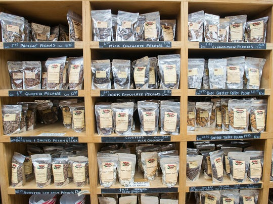 A wide variety of pecans, in addition to other nuts, are available at the J.W. Renfroe Pecan Co. Gift Shop in Pensacola on Thursday, Dec. 21, 2017.