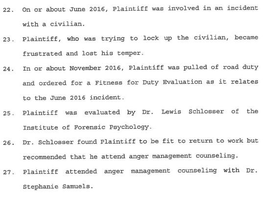 In this excerpt from a civil suit seeking reinstatement,
