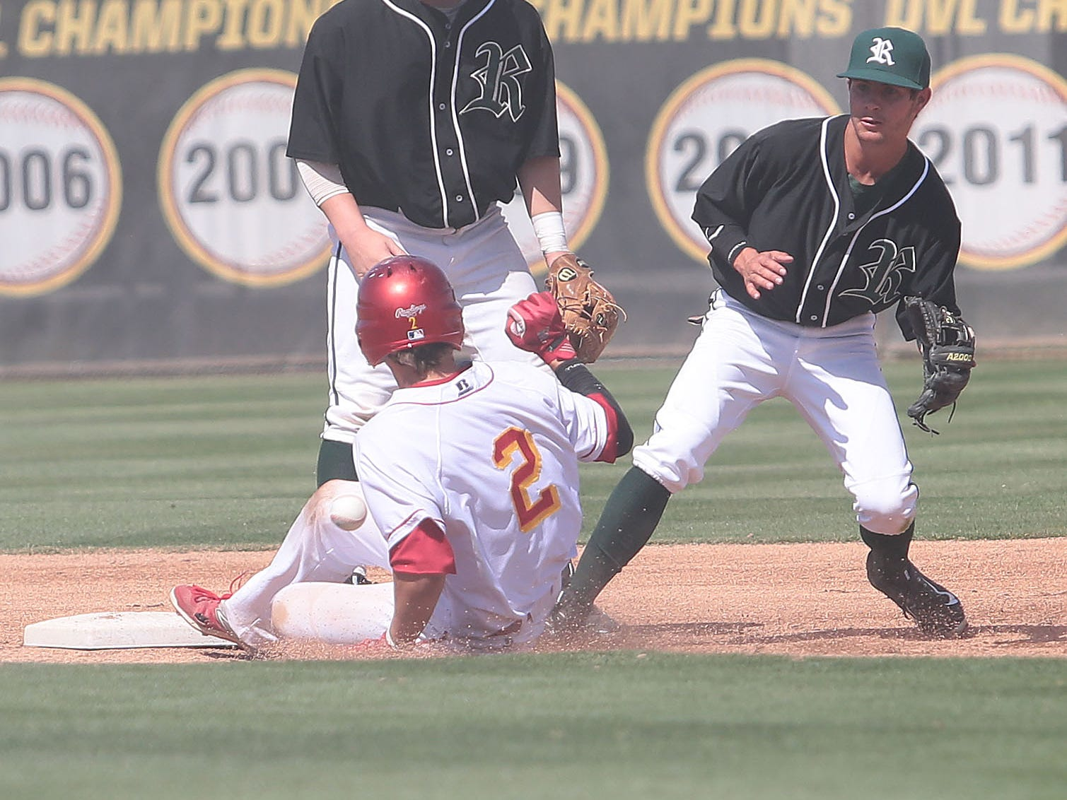 Palm Desert's Travis Moniot steals second base against Royal in the title game of the 53rd annual Coachella Valley Rotary Baseball Classic on Thursday afternoon.