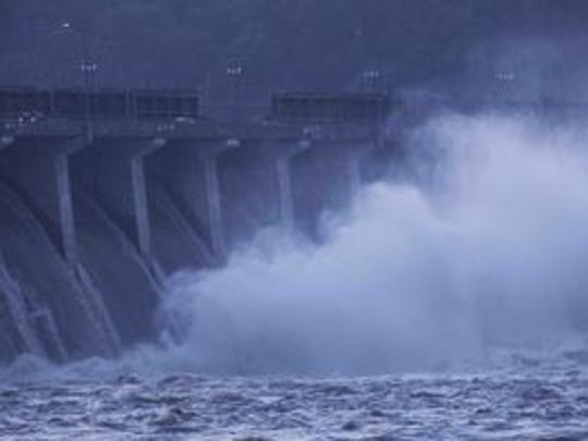 Flood gates were opened Thursday for the Conowingo Dam