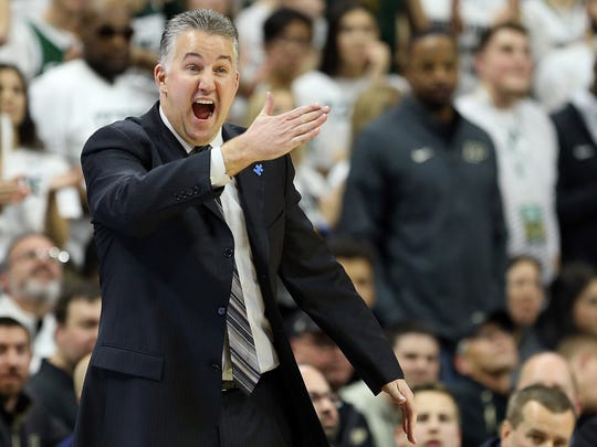 Feb 10, 2018; East Lansing, MI, USA; Purdue Boilermakers head coach Matt Painter reacts during the second half of a game against the Michigan State Spartans at the Jack Breslin Student Events Center. Mandatory Credit: Mike Carter-USA TODAY Sports