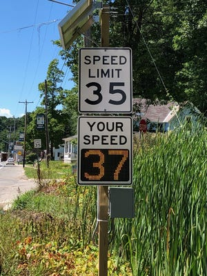 The new radar speed limit signs have been installed on the north and south ends of Topinabee in Mullett Township. The signs were put in to remind drivers of the change in speed limit, rather than continuing at 55 miles per hour through town. Contributed photo