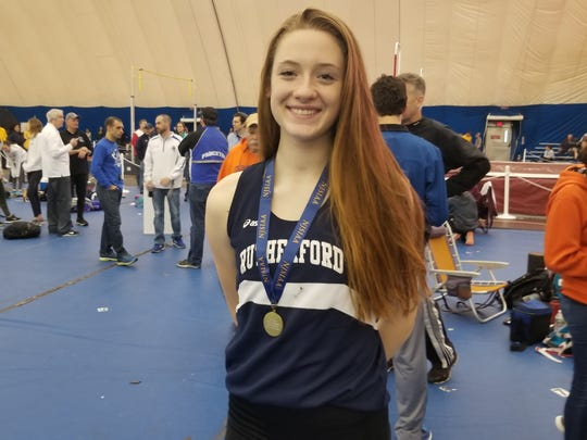 Jenna Rogers of Rutherford indoor track after winning