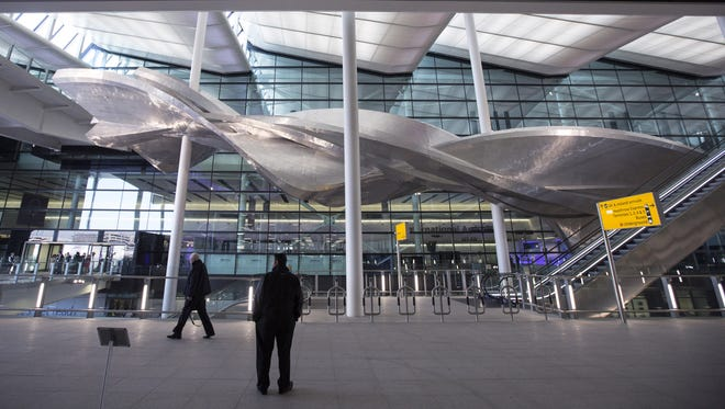 British artist Richard Wilson's new artwork 'Slipstream' in Terminal 2 of Heathrow airport on April 23, 2014 in London, England.