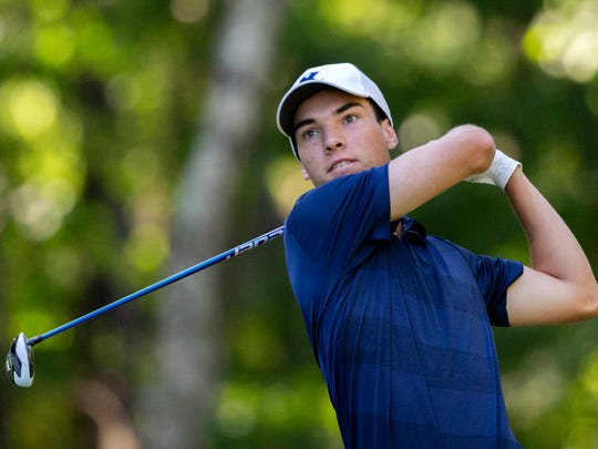 Xavier University sophomore Garrett Wood hits a shot at the Big East Conference men's golf tournament on Saturday, April 27, 2019, in Callawassie Island, S.C.