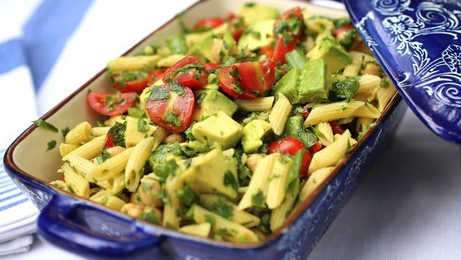 Spinach Avocado Penne Pasta Salad