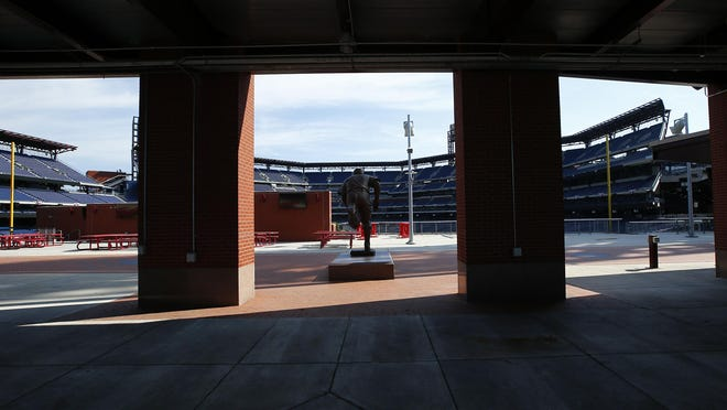 An empty Ashburn Alley facing seats at Citizens Bank Park on Monday. The Phillies home-and-home series against the New York Yankees is postponed due to some members of the Miami Marlins suffering a coronavirus outbreak during the weekend series against Philadelphia.
