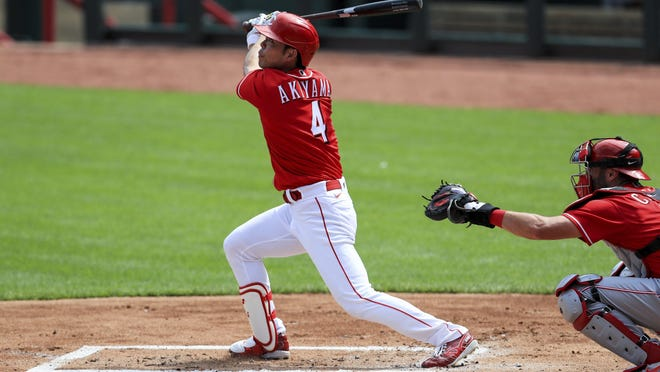Outfielder Shogo Akiyama, the Reds' first Japanese-born player, apparently will be the leadoff hitter in manager David Bell's batting order.
