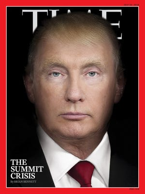 Time's latest magazine cover shows a photo illustration mashing President Donald Trump's face with Russian President Vladimir Putin.