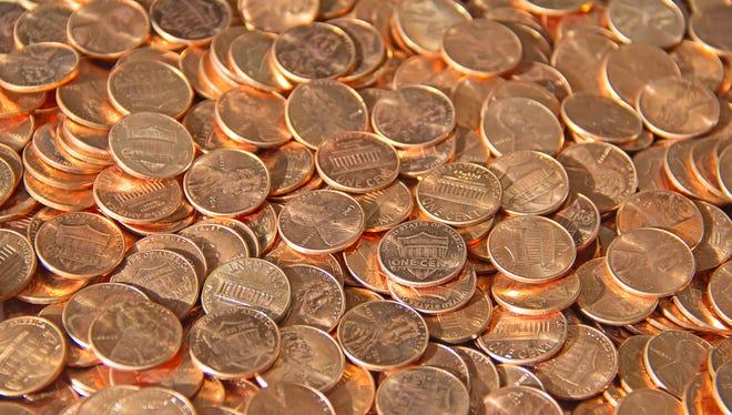 Huge pile of pennies.