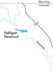 Halligan Reservoir is on the North Fork of the Poudre River. It was built by the North Poudre Irrigation Co. in 1909.