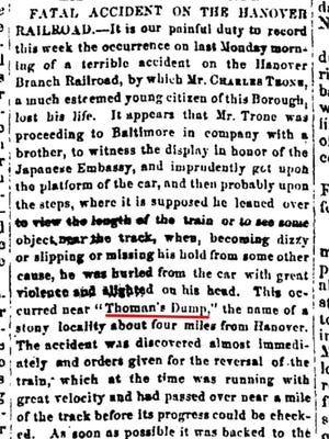 This newspaper clipping tells the sad story of a youth who fell from a moving train near Hanover. The accident occurred at Thoman's Dump.