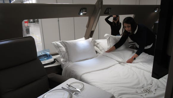 Beds in Singapore Airlines new Airbus A380 suites are