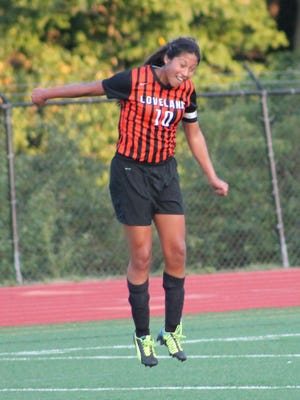 Loveland senior captain Andrea Gomez goes for the header Sept. 8 at Anderson.